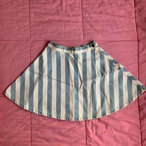 NEW American Apparel Blue/White Stripe Denim Skirt
